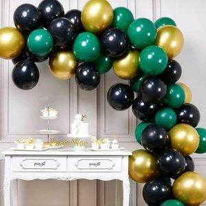 Gold and Green Balloons, 60 Pcs 12 Inch.